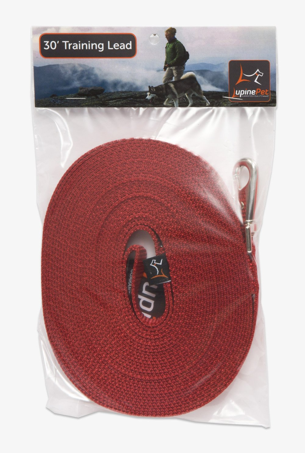 LupinePet Basics 3/4'' Red 30-foot Extra-Long Training Lead/Leash for Medium and Larger Dogs