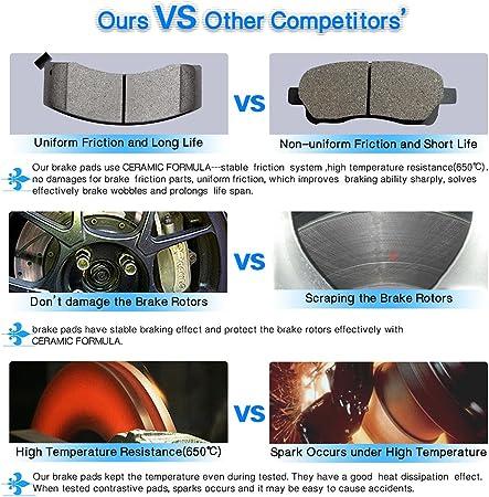 cciyu Professional Ceramic Disc Front Pads Set fit for Cadillac Escalade//Escalade ESV//EXT,Chevrolet Avalanche//Silverado 1500//Express 1500//Suburban1500//Tahoe,GMC Savana 1500//Sierra 1500//Yukon//XL 1500