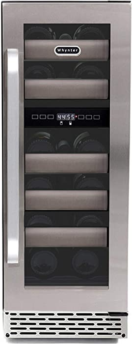 Whynter BWR-171DS 17 Bottle Stainless Steel Dual Zone Built Wine Refrigerators-Elite Series with Seamless Doors