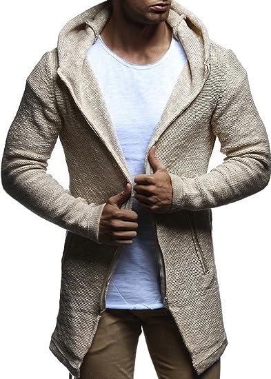 LEIF NELSON Herren Strickjacke Slim Fit | Männer Jacke für Winter | Moderne Kapuzenpullover Sweatjacke Hoodie |LN20740 N