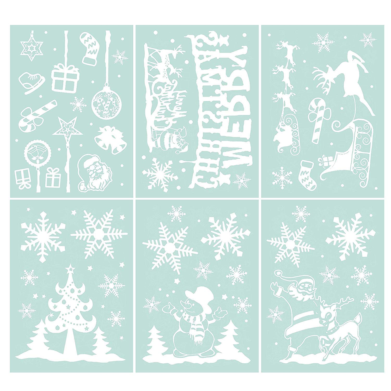 LOKIPA 48pcsChristmas White Window Display Clings Decal Stickers for Winter Wonderland Decorations (6Sheets)