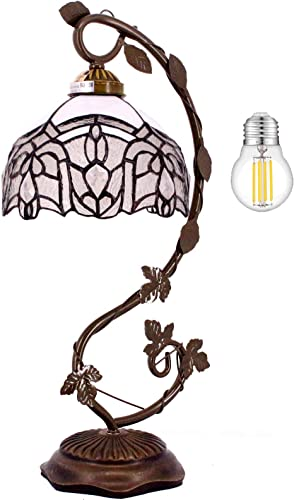 Tiffany Lamps White Stained Glass Crystal Style Table Desk Reading Light Style Shade W8H20 Inch LED Bulb Included WERFACTORY Lamps Parent Friend Lover Living Room Bedroom Bookcase Dresser Coffee Gifts