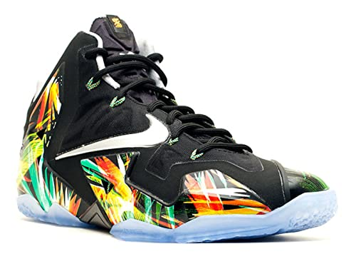 9fcb37ea28a42 Nike Lebron XI Mens Basketball Shoes 616175-006 Black Metallic Silver-Wolf  Grey-Atomic Mint 10 M US  Buy Online at Low Prices in India - Amazon.in
