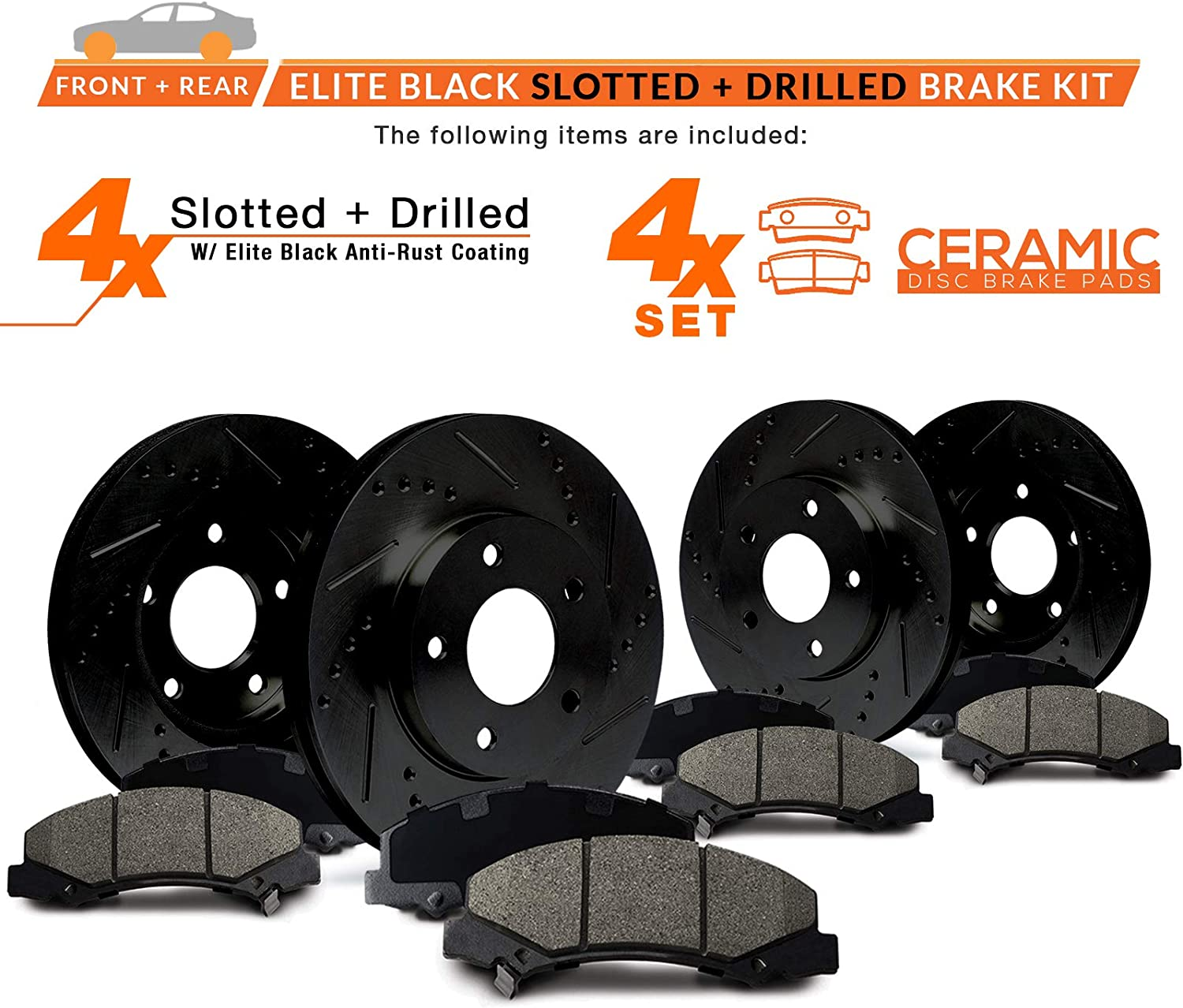 KT008583 Max Brakes Front /& Rear Elite Brake Kit E-Coated Slotted Drilled Rotors + Ceramic Pads Fits: 2004 04 Mazda 3 2.3L Models