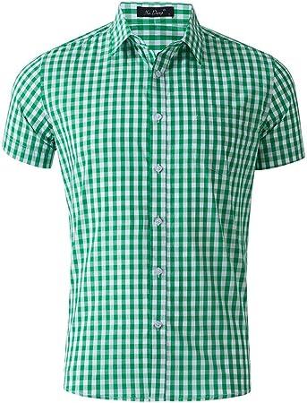 Camisas de vestir para hombre Camisa de manga corta para hombre con patrón de tela escocesa