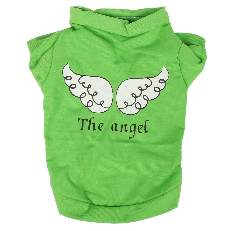 Camiseta del animal domestico - SODIAL(R) Camiseta del animal domestico pequeno linda chaleco ropa del gato cachorro chaleco ropa para perros angel de impresion (Verde, L)