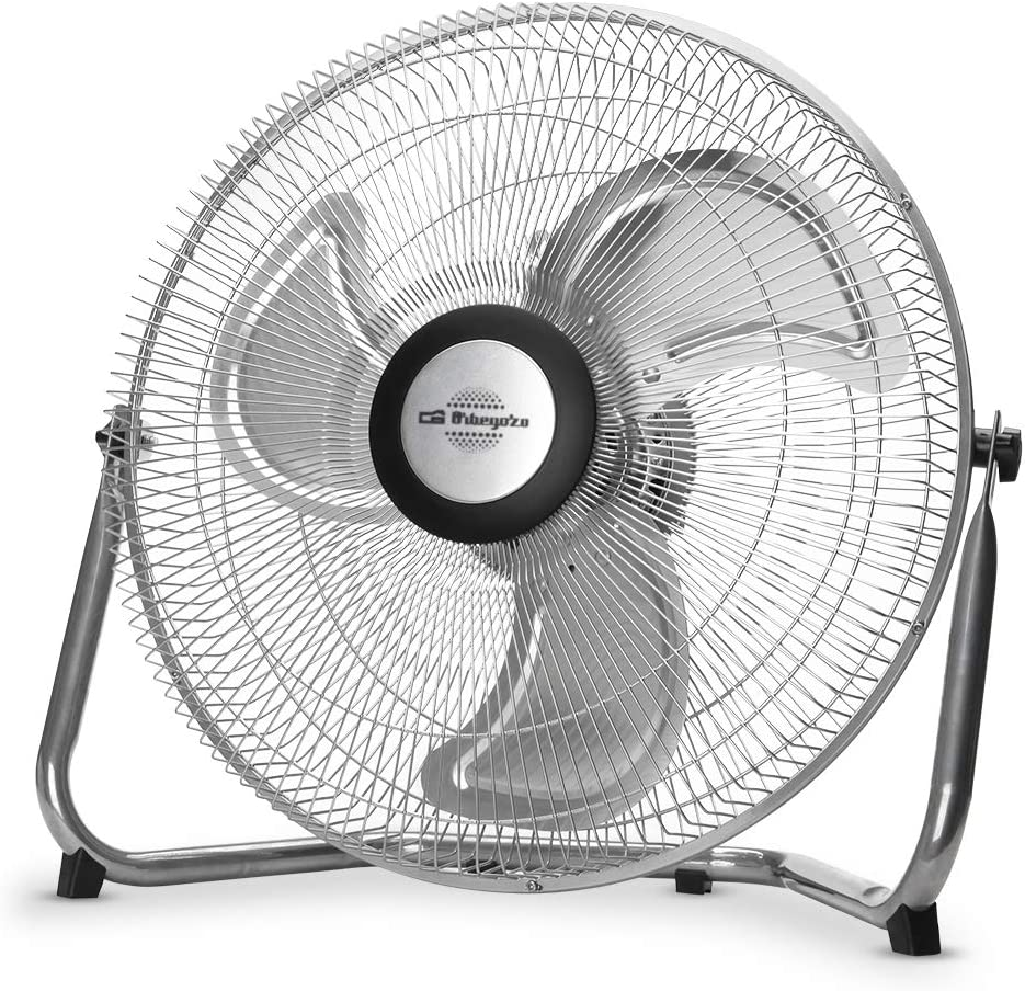 Orbegozo PW 1245 - Ventilador industrial Power Fan, inclinación orientable, aspas metálicas de 45 cm, 3 velocidades de ventilación, asa de transporte, rejilla de seguridad, 80 W de potencia