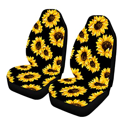 Venhoo Car Seat Covers Lovely Sunflower Universal Auto Front Seats Protector Compatible Fits for Most Car, SUV Sedan & Truck-2 Pcs: Automotive