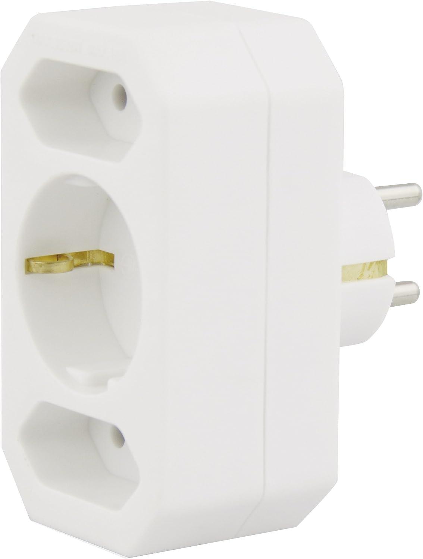 Emos Ges 073 3fach Steckdosenadapter Kopp 174902005 Adapter 3 Fach Für Eurostecker Extra Flach Arktis Weiß Baumarkt