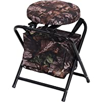 """Outsunny 19"""" 360 Degree Swivel Folding Travel Camping Stool with Storage Bag"""