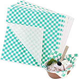Hslife 100 Sheets Green and White Checkered Dry Waxed Deli Paper Sheets, Paper Liners for Plasic Food Basket, Wrapping Bread and Sandwiches(11''x11.6'')
