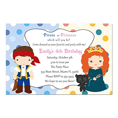 Amazon 30 invitations pirate princess girl boy birthday party 30 invitations pirate princess girl boy birthday party personalized cards photo paper filmwisefo