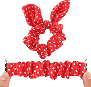 Somesame 2 PCS Polka Dot Scrunchie Band Compatible with Apple Watch Band 44mm 42mm,Women Girls Cute Rabbit Elastic Fabric Wristband Scrunchy Strap with Hair Ring for iWatch SE,Series 6 5 4 3 2 1,Red