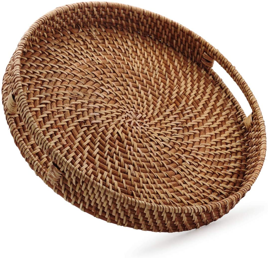 Amazon Com Round Rattan Woven Serving Tray With Handles Ottoman Tray For Breakfast Drinks Snack For Coffee Table Home Decorative 16 9 Inch Honey Brown Serving Trays