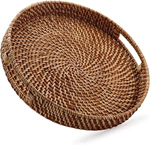 Round Rattan Woven Serving Tray with Handles Ottoman Tray for Breakfast, Drinks, Snack for Coffee Table, Home Decorative (16.9 inch, Honey Brown)