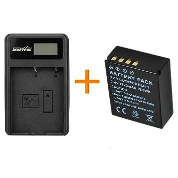 1 piezas 1720mAh BLH-1 BLH1 Batería de la cámara con un solo cargador de batería para cámaras digitales Olympus EM1 MARK II EM1-2 EM1 Mark 2 (1 pcs ...