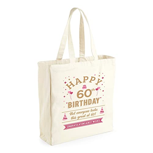 Amazon 60th Birthday 1959 Keepsake Funny Novelty Gift For Women Ladies Female Happy Shopping Bag Present Tote Idea Handmade
