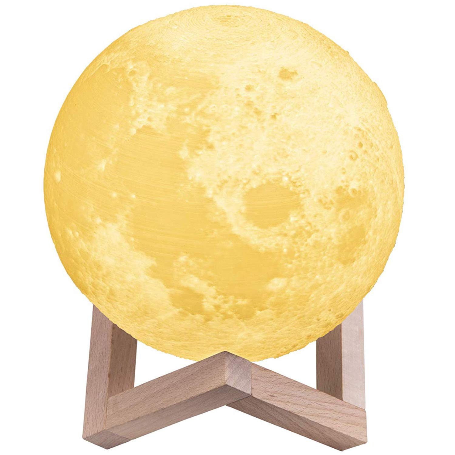 Touch Control 15cm TaoTronics 3D Printed Moon Light Warm White /& Cool White Moon Lamp Brightness Dimmable /& USB Charging Night Light with 3 Color Modes Warm