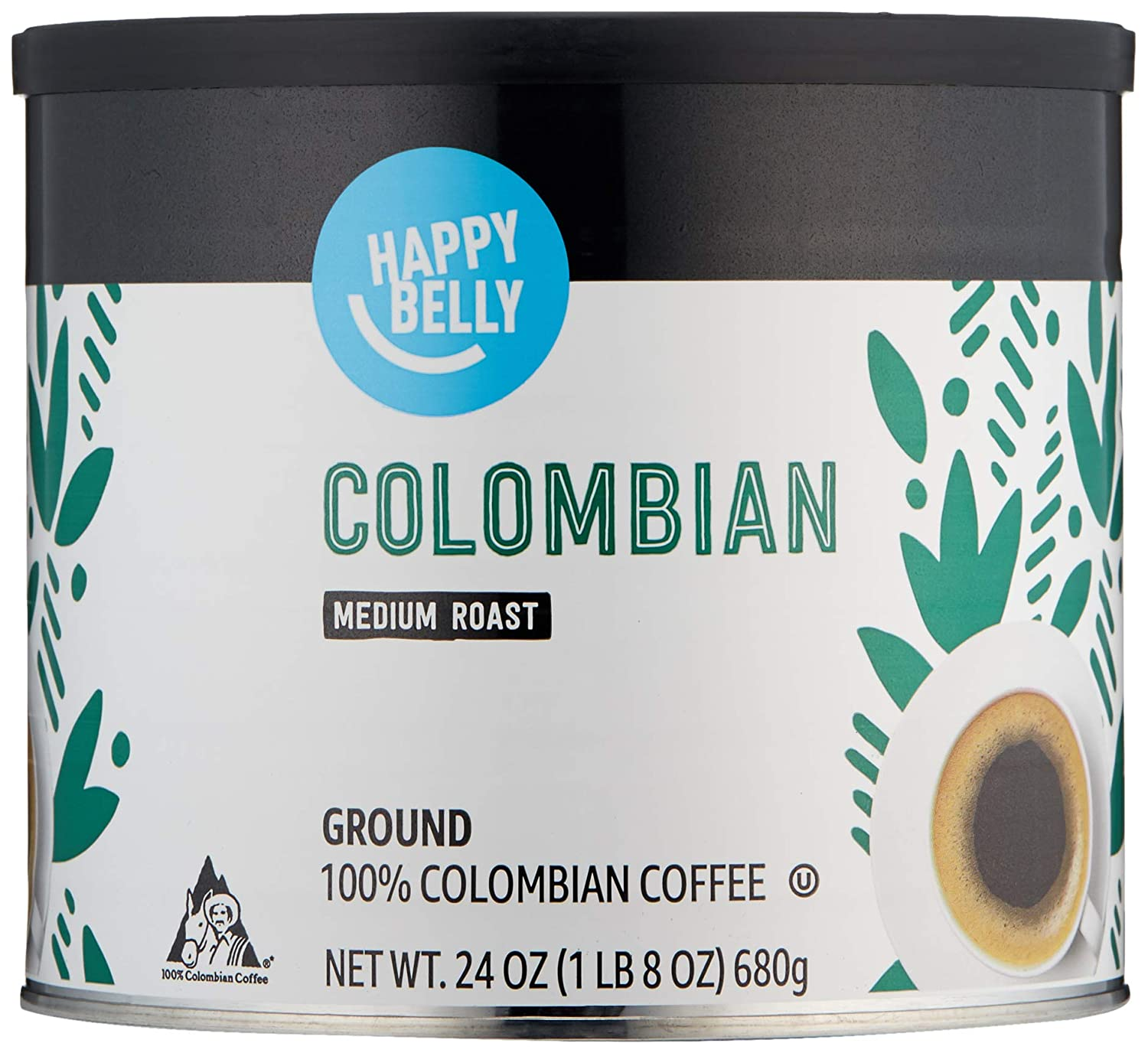 Amazon Brand - Happy Belly Colombian Canister Coffee, Medium Roast, 24 Ounce