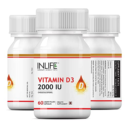 Amazon.com: Inlife Vitamin D3 Cholecalciferol Supplement for Men Women 2000 IU - 60 Liquid Filled Capsules: Health & Personal Care