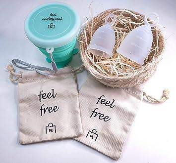 Povi Store Copa Menstrual Pack 2 Copas en Talla S (15ml) y L (20ml) Grado Médico + Esterilizador de Silicona Lavable + 2 Bolsas de tela para su ...