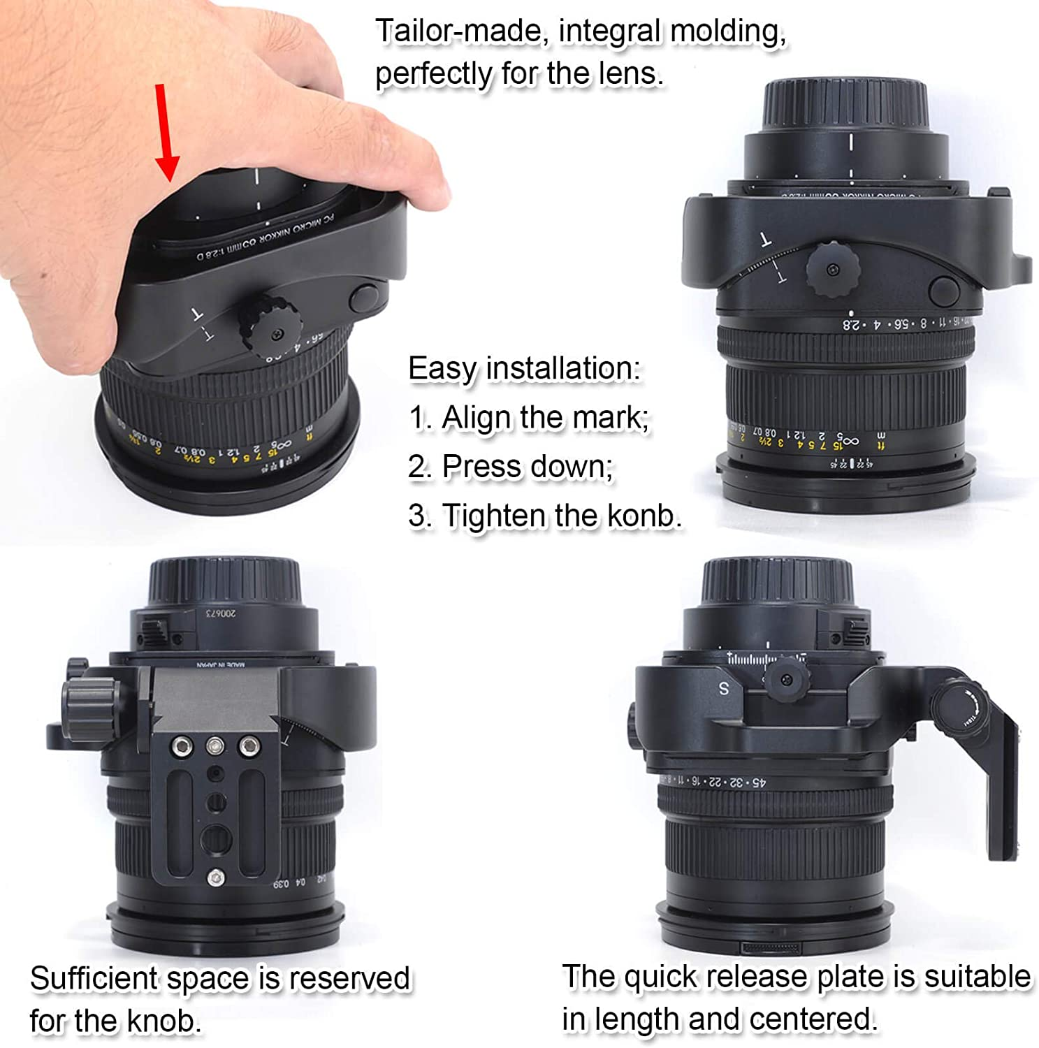 Built-in Arca Type Quick Release Plate with 1//4 and 3//8 Screw Hole for Arca-Swiss Tripod Head Camera Tripod Mount Ring Lens Collar Support Holder for Nikon PC Micro-NIKKOR 85mm f//2.8D Tilt-Shift Lens