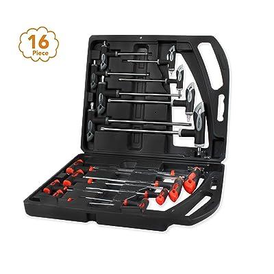 B Bochamtec 16 PCS hex key set and allen wrench set t handle allen wrench set Hex Ball End Screwdriver Kit with Case