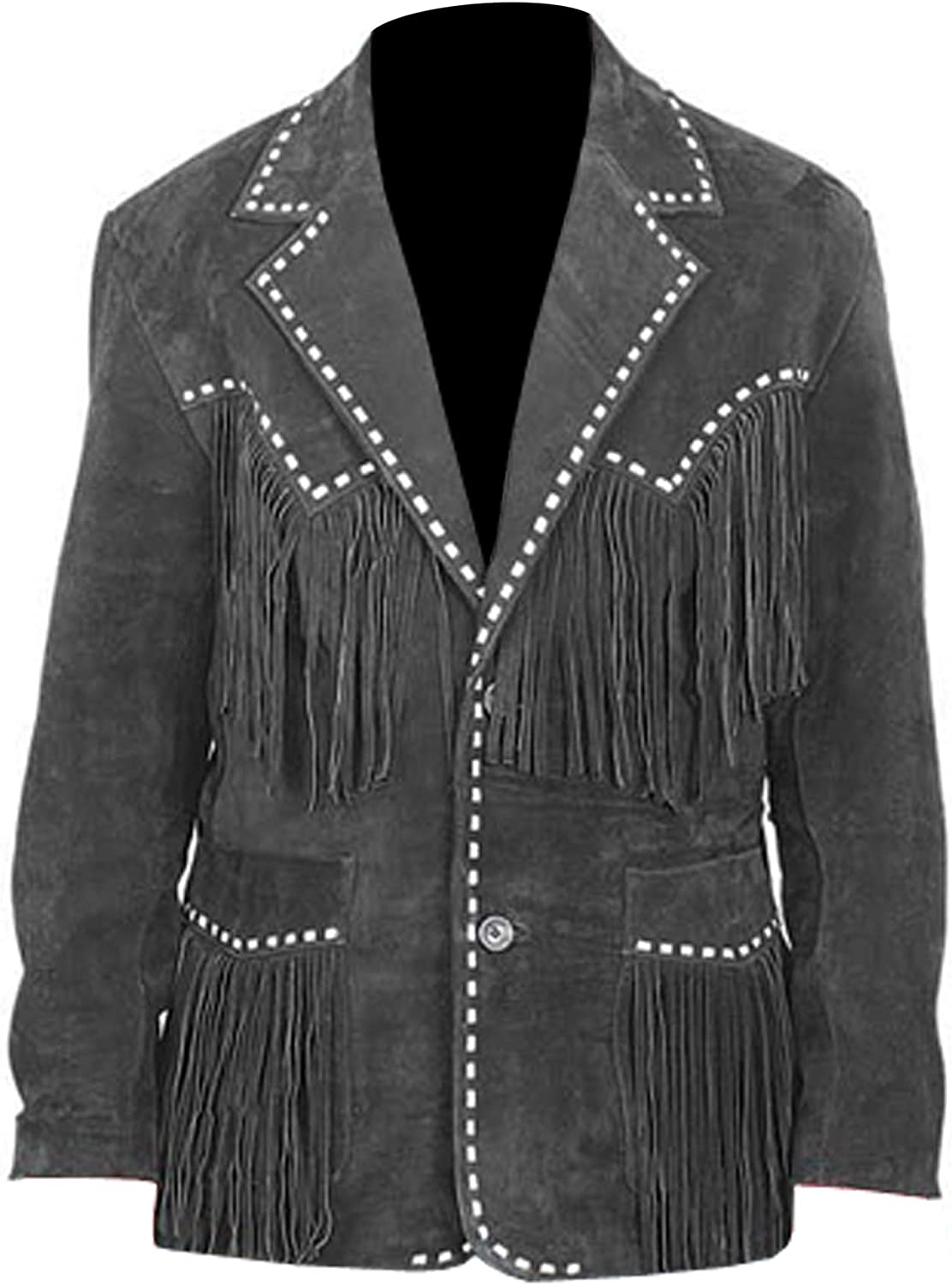 Baba Geniuse International Mens Suede Leather Western Style Cowboy Jacket with Fringe and Beaded Small to 4XL