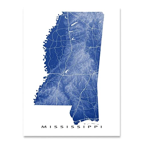 Amazon Com Mississippi Map Print Ms State Art Natural Landscape
