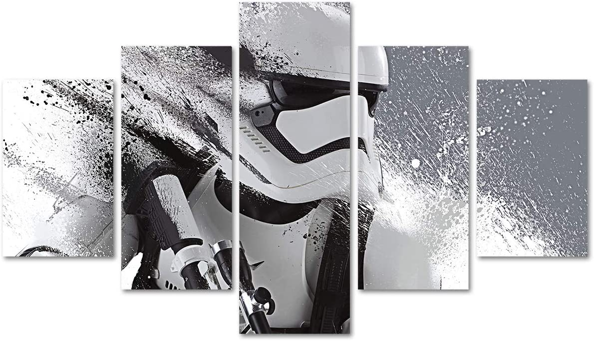 DJSYLIFE Star Wars Wall Decor Canvas Art 5 Piece Movie Poster Painting for Livingroom Childroom Home Artwork Unframed (No Frame)