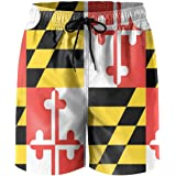 f220be6d77de1 MYKJ Maryland State Flag Summer Casual Quick-Dry Board Shorts Swim Trunks  Drawstring Striped Side