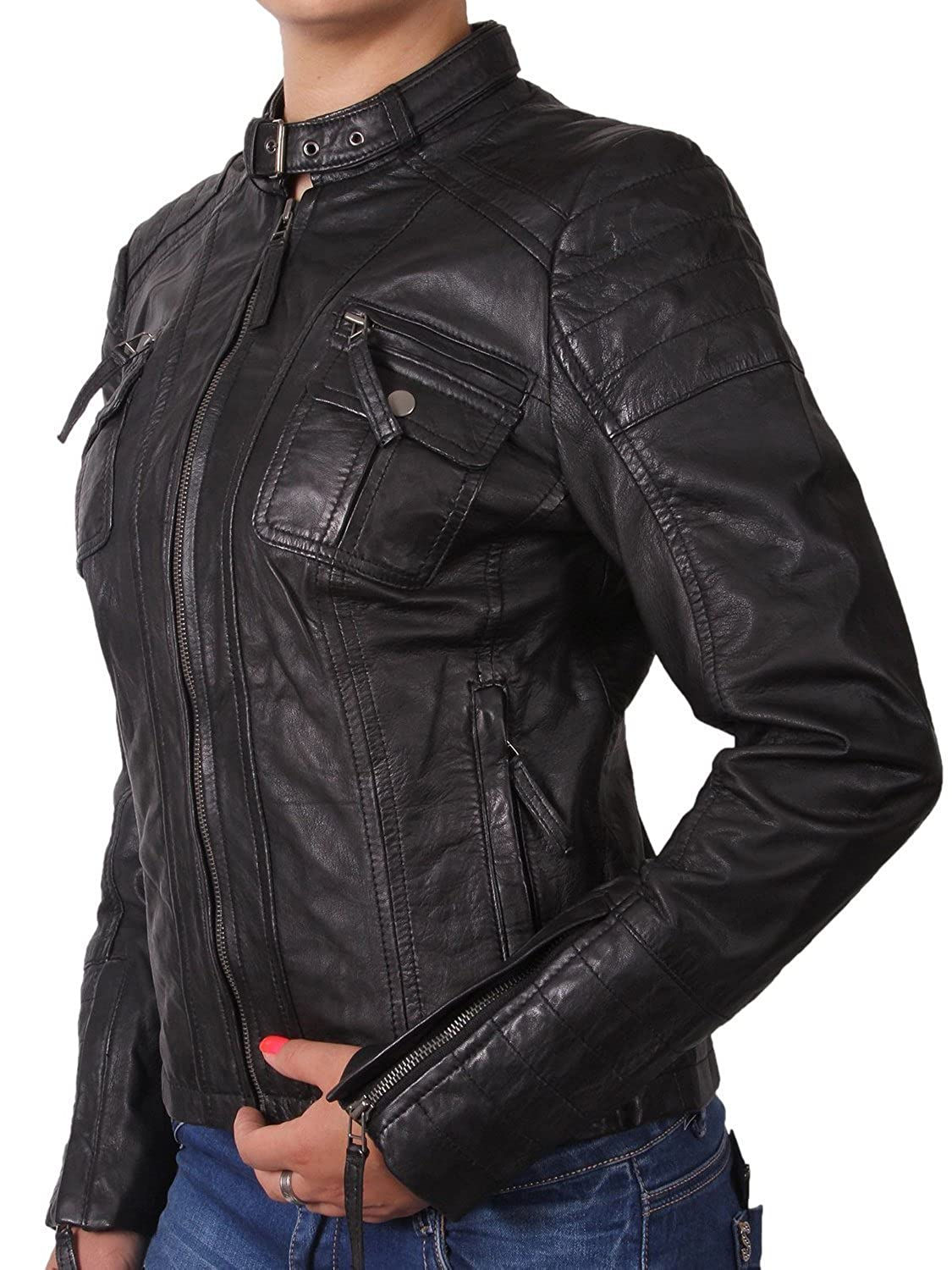 WOMENS LADIES LEATHER BIKER JACKET MOTORCYCLE JACKET REAL LEATHER ...