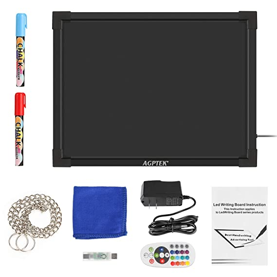 7 Colors of RGB 28 Flashing-Mode Remote Control, Metal Chain for Hanging up, Washable Eraser Cloth AGPtek 16x12 Flashing Illuminated Erasable Neon LED Message Writing Board Menu Sign