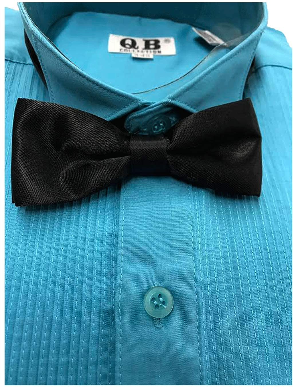 Trend Setters Boys Turquoise Pleated Tuxedo Long Sleeve Dress Shirt with Black Bow Tie Small, 14-14.5