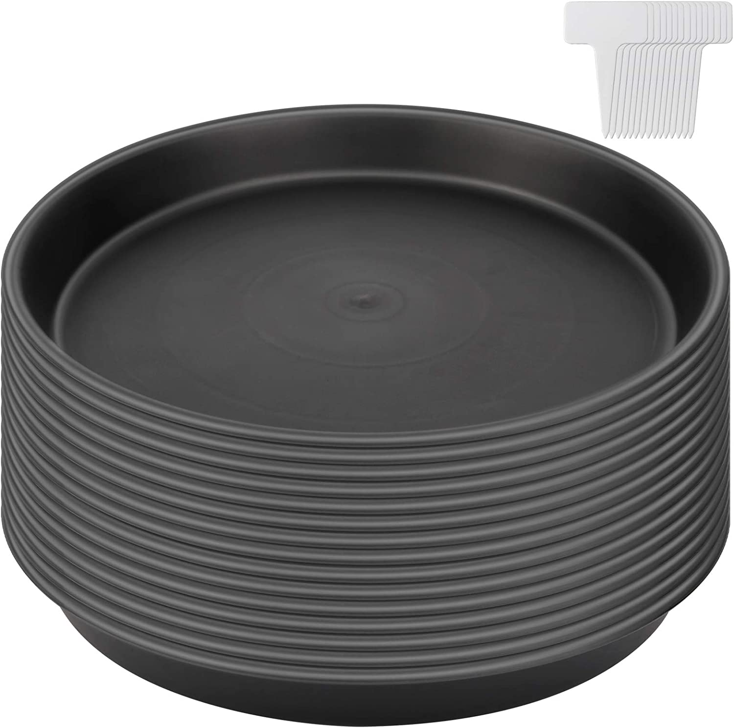 KEILEOHO 15 PCS 12 Inch Plant Saucer, Black Plastic Flower Plant Pot Tray with White Plant Labels Thick Round Plant Drip Tray for Indoor Outdoor Use,Top diameter 12 inches, bottom diameter 10.5 inches