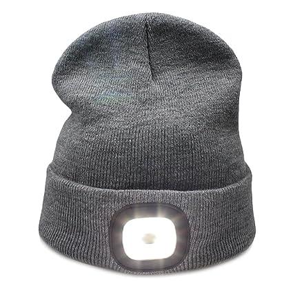 Amazon.com  Kingnew 4 LED Knit Hat USB Rechargeable Flashlight Free ... 54b685f777f