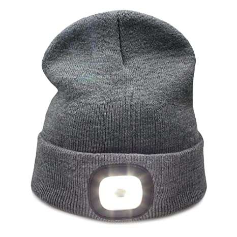 a228d88c941c7 Image Unavailable. Image not available for. Color  Kingnew 4 LED Knit Hat  USB Rechargeable ...