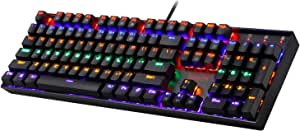 Gaming Keyboard Mechanical Keyboard K551 Vara by Redragon 104 Key LED Backlit Mechanical Computer Illuminated Keyboard with Blue Switches for PC Gaming Compact ABS-Metal Design