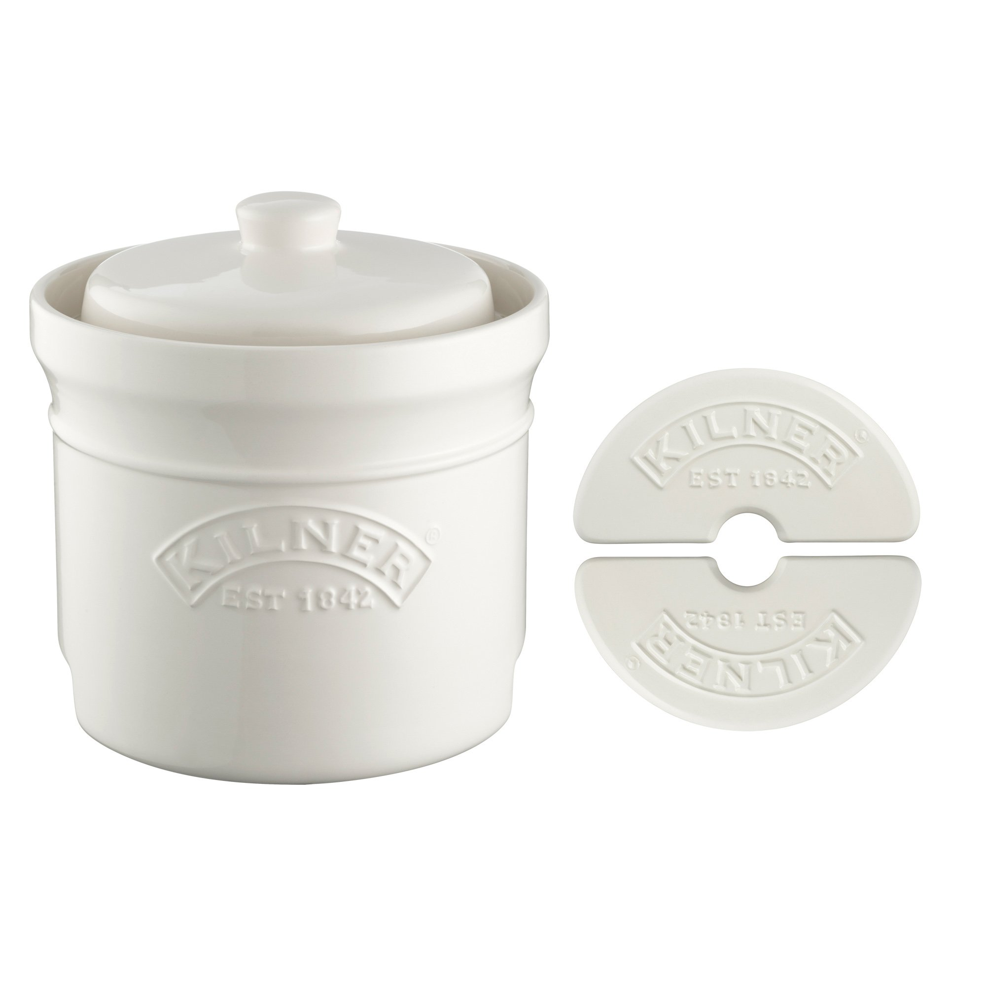 Kilner Ceramic Fermentation Crock Set, 5-piece Kit Includes 1-1/4 Gallon Fermenting Jar with Lid, Ceramic Stones and a Recipe Booklet for at Home Fermenting and Pickling