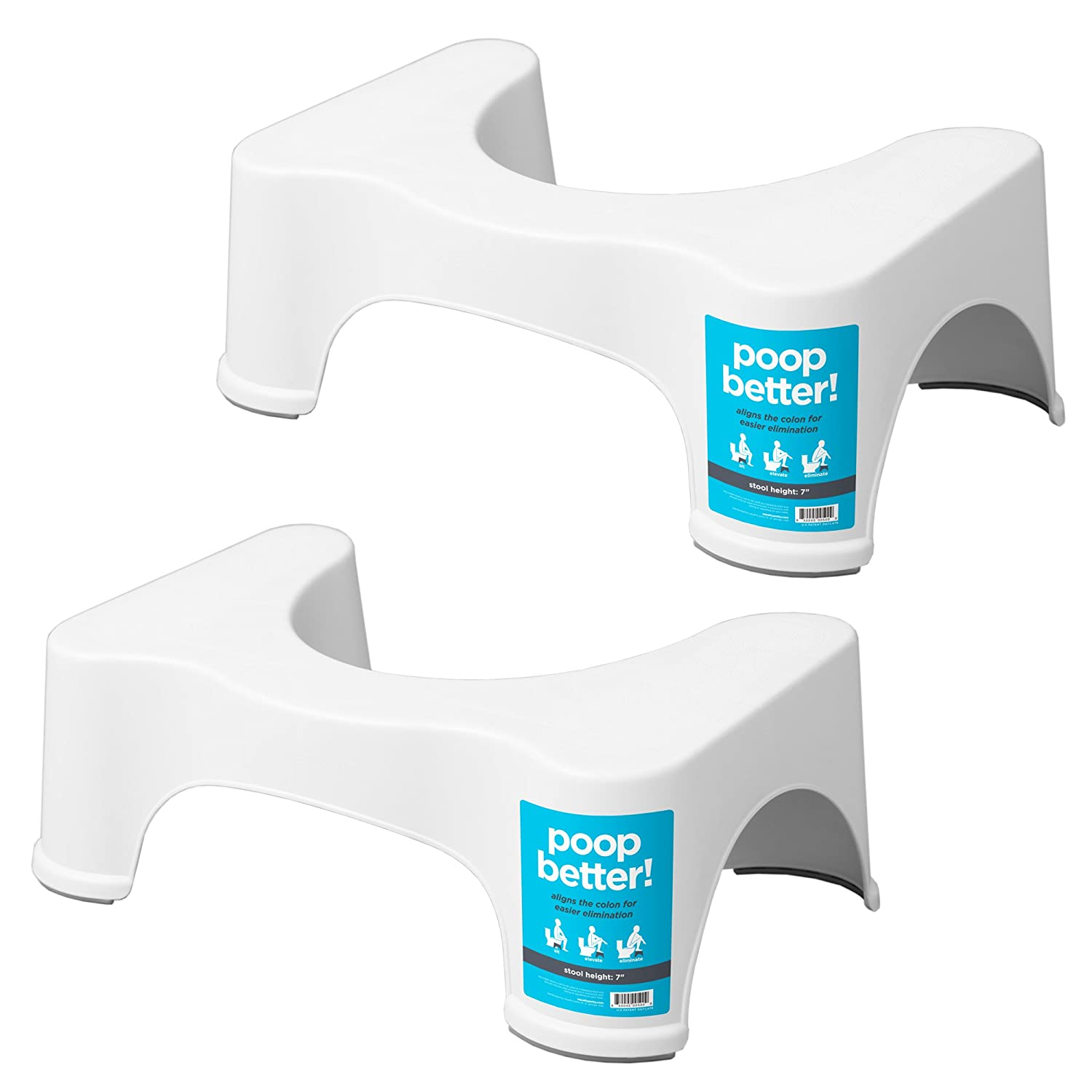 "Squatty Potty The Original Bathroom Toilet Stool 7"" White, 2 Pack"