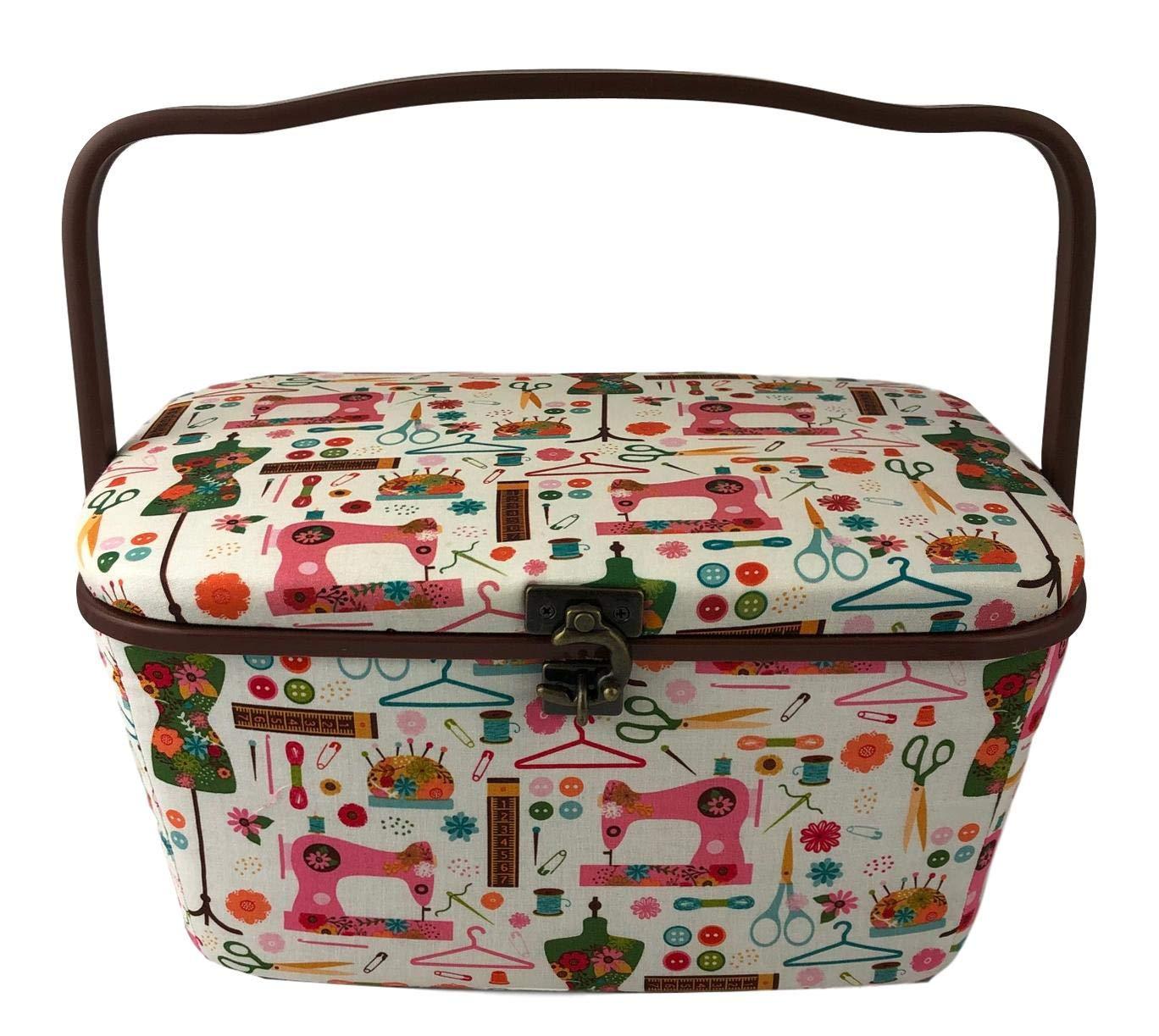 Medium 11x7x6.5, Beige with White Flowers Medium Rectangle Sewing Basket Box with Tray Pincushion 11x7x6.5
