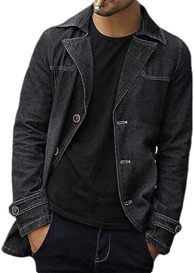 Mens Thick Slim Winter Button Up Lapel Denim Jacket Coat Outerwear