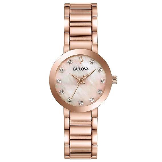 Bulova 97p132 moderna de la mujer reloj oro rosa 30 mm, de acero inoxidable)