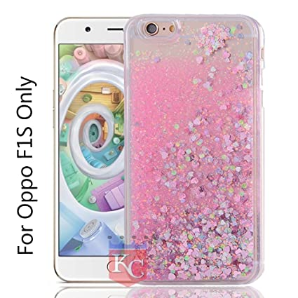 official photos c5a94 46bfd KC Liquid Unique Floating Hearts & Glitter Sparkle Transparent Soft Sides  Back Cover for Oppo F1s (Pink)