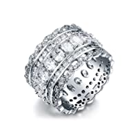 Serend SPILOVE Vintage Style Cubic Zirconia Wide Band Statement Cocktail Ring 18k White Gold PlatedJewelry, Gifts for Graduation