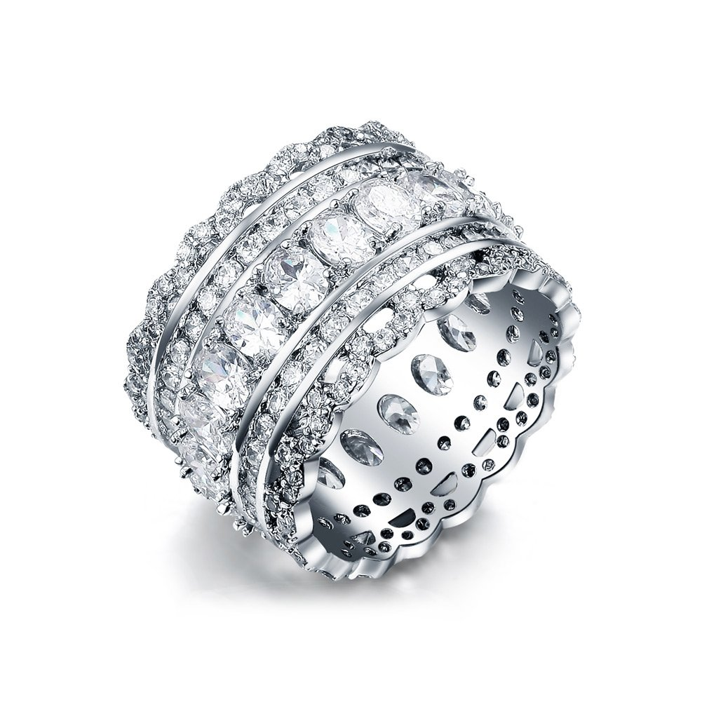 Serend Vintage Style Cubic Zirconia Wide Band Statement Cocktail Ring 18k White Gold Plated Jewelry, Size 8