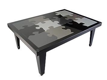 Styl Metal 21 Table Basse Puzzle 4 Pieds Metal Noir Blanc Gris