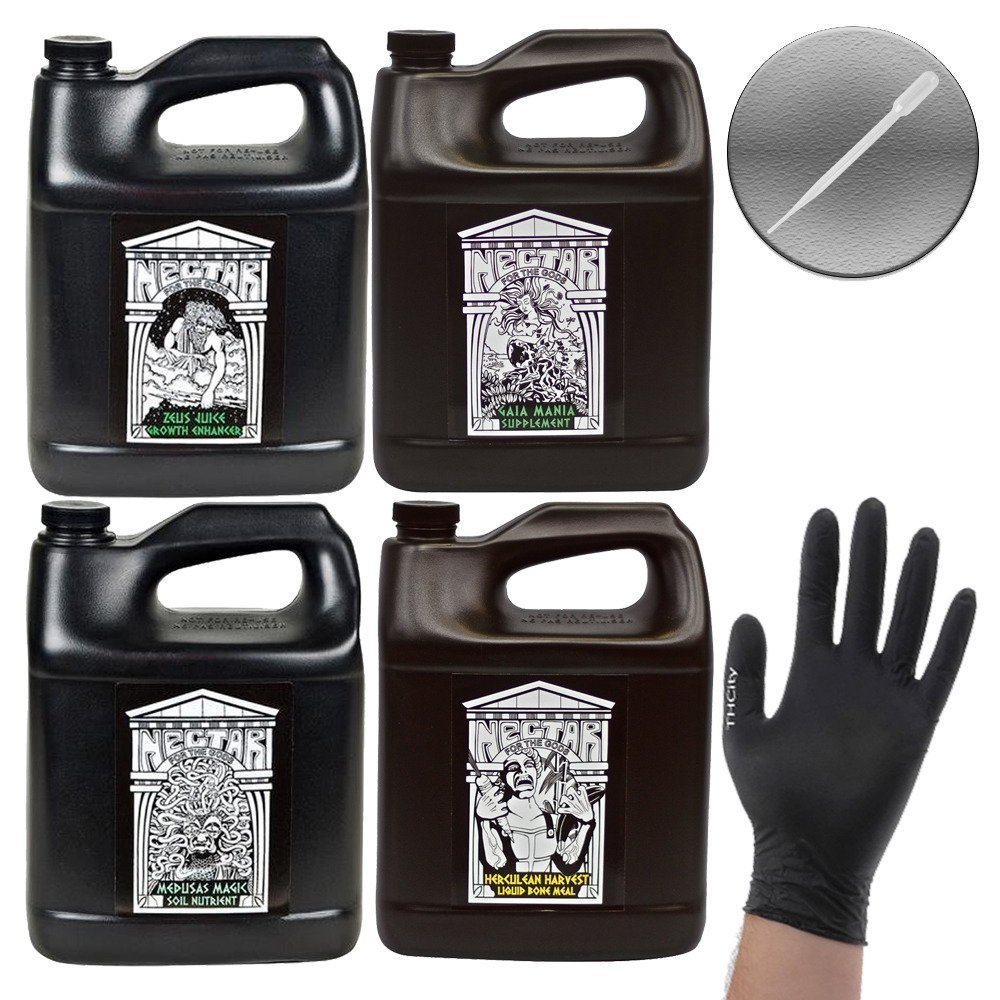 Nectar for the Gods 4 Pack Bundle: Medusas Magic, Gaia Mania, Zeus Juice, Herculean Harvest + THCity Gloves & Pipette - 1 Gallon Each