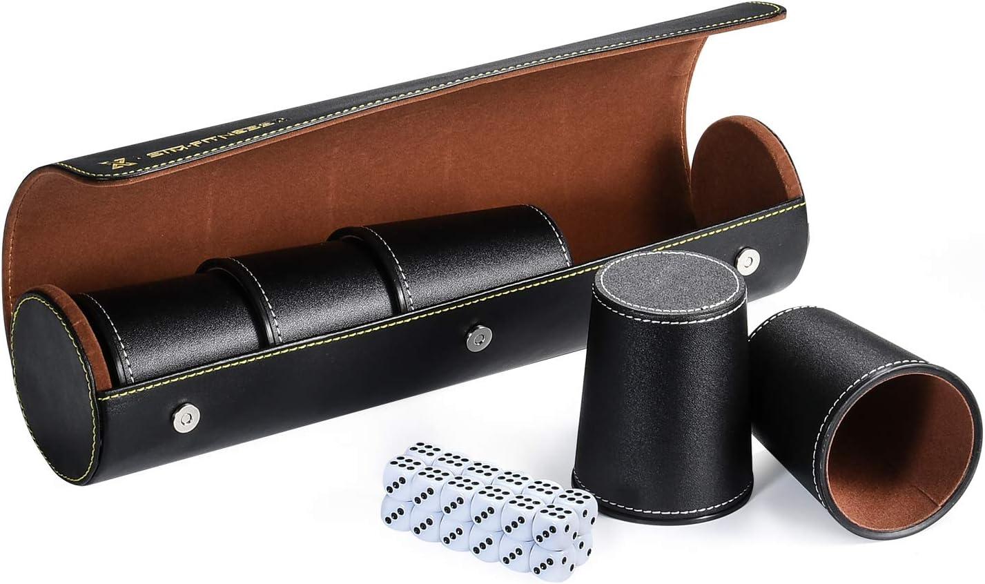 X SIM FITNESSX - Juego de 5 cubos de piel sintética con vaso, 25 dados de puntos, funda de piel sintética con cierre magnético