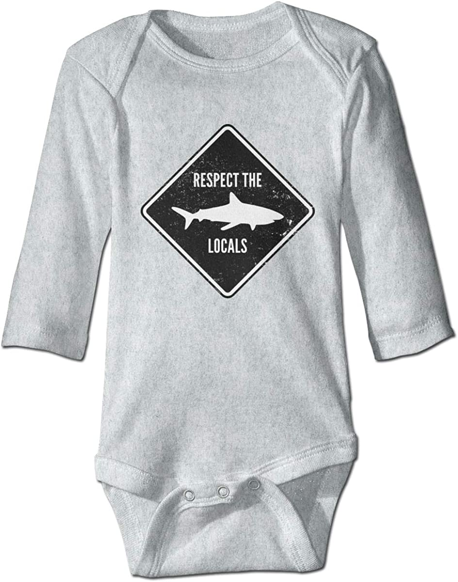 Respect The Locals Shark Baby Boys Girls Bodysuit Infant Long Sleeve Romper Jumpsuit Outfits